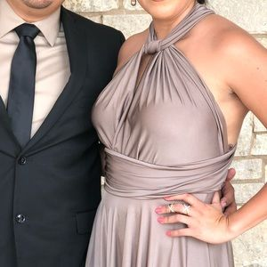 Bridesmaid wrap dress, copper brown- used once